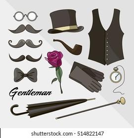 Set of vector elements for gentlemen