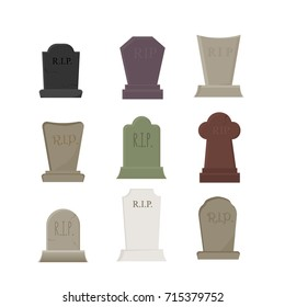 set of vector elements for halloween, cemetery and graves with tombstones, isolated on white