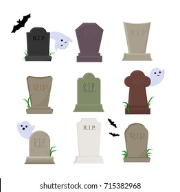 set of vector elements for halloween, cemetery and graves with tombstones, ghosts and bats