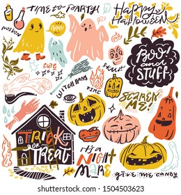 Set of vector elements for Halloween. pumpkins, ghosts, house, fire, poison, witches broom,candy, nightmare,scull,boo and cute lettering in flat cartoon style. Funny halloween card. Party invitation.