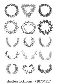 Set of vector elements. Hand drawing a wreath.