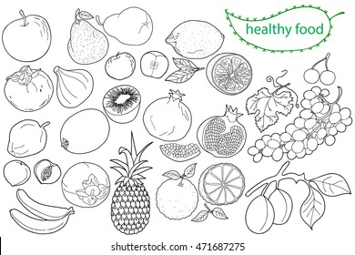Set of vector elements for healthy food, raw food, vegetarian. Fruit.  Hand drawn. Black and white.