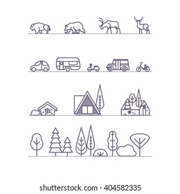 Set of vector elements icons with natural motifs in trendy linear style