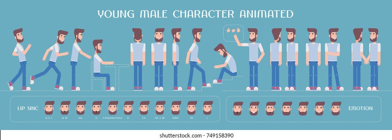 Set of vector elements for man, guy character creation and animation. Different emotions, poses, face expressions, body parts of young hipster male constructor