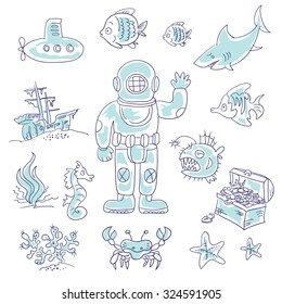 Set of vector elements on the theme of deep diving