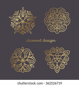 Set of vector elements in style of mono line. Template for creating unique luxury design, logos, artwork, exhibitions, auctions, corporate products, business cards. Natural motifs. Print gold foil