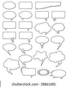 Set of vector elements such as bubbles and clouds for think, speech, talk box for comic books