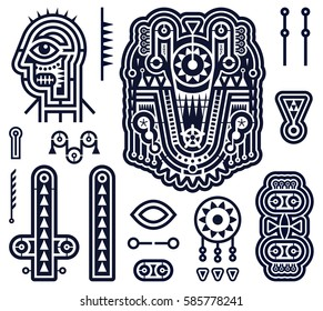 Set of Vector Elements in Techno Tribal Style. Monochrome Stripes and Shapes for Cover Design. Modern Art Vector Illustration