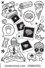 Set of vector elements.Urban and modern life theme. Hand-drawn vector images.Good for stickers. Easy to edit. EPS8 file.