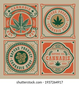 Set of vector emblem of cannabis leaf. Ideal for packaging and other many uses.
