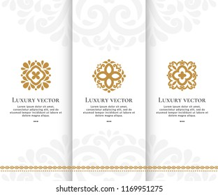Set of vector emblem. Elegant, classic elements. Can be used for jewelry, beauty and fashion industry. Great for logo, monogram, invitation, flyer, menu, brochure, background, or any desired idea.
