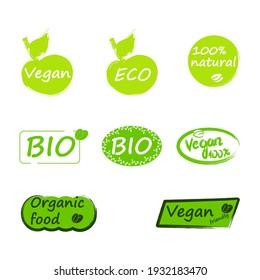 Set of vector emblem with inscriptions vegan, eco, bio, organic