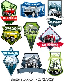 set of Vector emblems with 4x4 vehicle off-road car and mountains