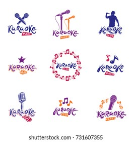 Set of vector emblems and leaflets created using musical notes, stage and recorder microphones and other audio equipment. Live music concert and karaoke invitation posters.