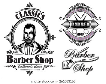 set of vector emblems on a theme barber shop