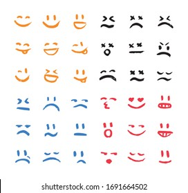 Set of vector emoticons, smiley, kaomoji, and mood expressions. Modern grunge, textured emoji looks like graffiti for any projects, prints, and web interfaces. Excellent templates for your design.