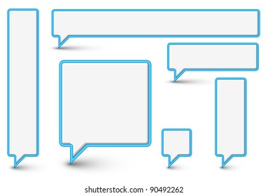 Set of vector empty plastic Comic Clouds and bubbles with blue border
