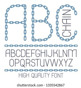 Set of vector English alphabet letters, abc isolated. Upper case creative font made with steel chain link, joined link.