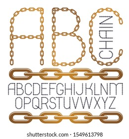 Set of vector English alphabet letters, abc isolated. Capital decorative font created using connected chain link.