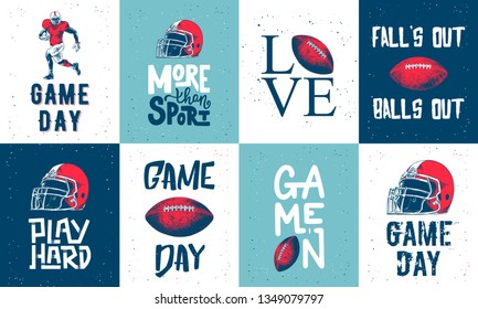 Set of vector engraved style posters, decoration and print. Hand drawn sketches of american football with modern typography and lettering. Detailed vintage etching style drawing.