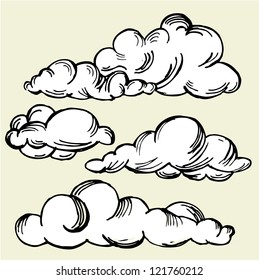 Set of vector engraving clouds
