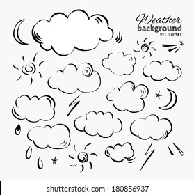 Set of vector engraving weather elements. Hand-drawn pen illustration.