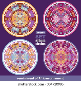 Set of vector ethnic african circle / labels, vector