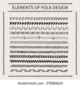 Set of vector ethnic borders drawn by hand on a white background, chevron, triangles, dots, dashes, tribal folk pattern.