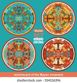 Set of vector ethnic circle / labels, vector