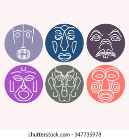 Set of vector ethnic masks of the characters of the ancient gods of the Mayan, African and Asian tribes