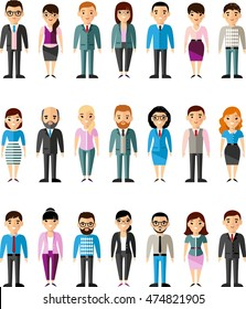 Set of vector european business peoples illustration of a different manager man and woman