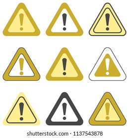 Set of vector exclamation golden signs. Collection of various colored signs