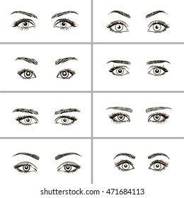 Set of vector eyes shapes.  Various types of woman eyes.