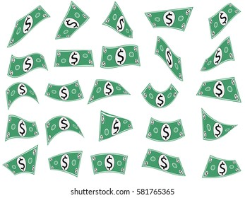 Set of vector falling or flying dollar shapes (image isolated on white background)