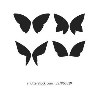 Set  of vector fantasy butterfly wings isolated on white