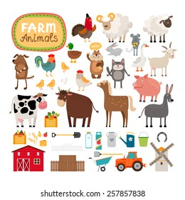 Set of vector farm animals and agricultural accessories. Sheep and cow, pig and horse, rural life