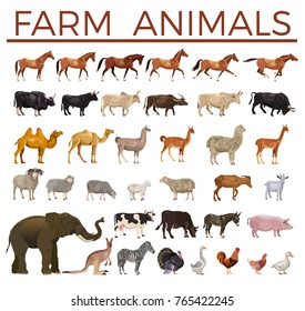 Set of vector farm animals. Side view
