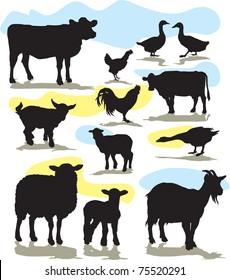 set vector farm animals silhouettes