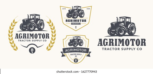 Set of vector farm logo, emblems and badges. Simple line tractor illustration.