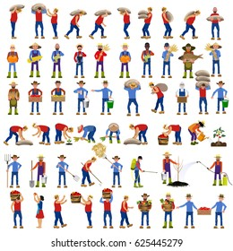 Set of vector farmers in various poses. Vector illustrations.