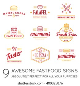 Set of Vector Fastfood Fast Food Elements Icons and Equipment as Illustration can be used as Logo or Icon in premium quality with Fictitious Names and the names of World National Foods