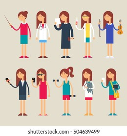 Set of vector female characters, occupations