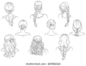 Set Vector Female Hairstyles Easy Use Stock Vector Royalty Free