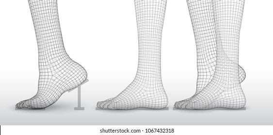 set of vector female legs. 3d illustration of lifting the leg. health and choice of shoes