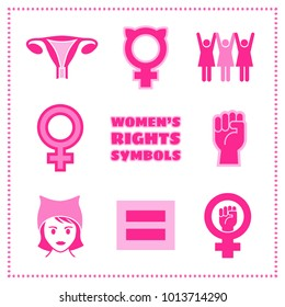 Set of vector feminist icons including female symbols, equality sign, pussy hat and raised fist.