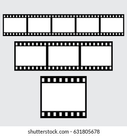 Set of vector filmstrips. Horizontal. Collection. Black and White.