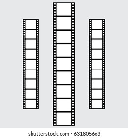 Set of vector filmstrips. Vertical. Collection. Black and White.