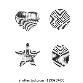 Set of vector fingerprints. Set of black vector fingerprints isolated on white background. Fingerprint in the form of a heart. Fingerprint in the form of a star. Fingerprint in the form of a circle