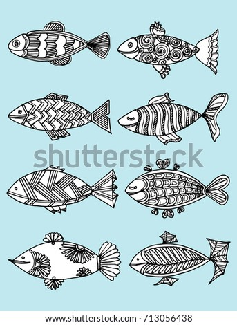 Set Vector Fish Patterns Collection Stylized Stock Vector Royalty Awesome Fish Patterns