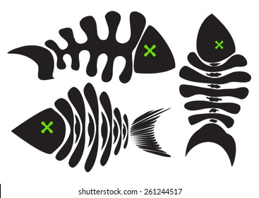 set of vector fish skeleton